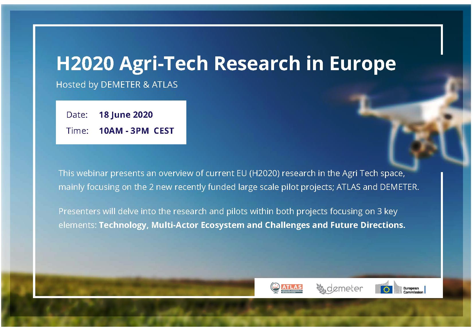 'H2020 Agri-Tech Research in Europe' webinar hosted by DEMETER & ATLAS