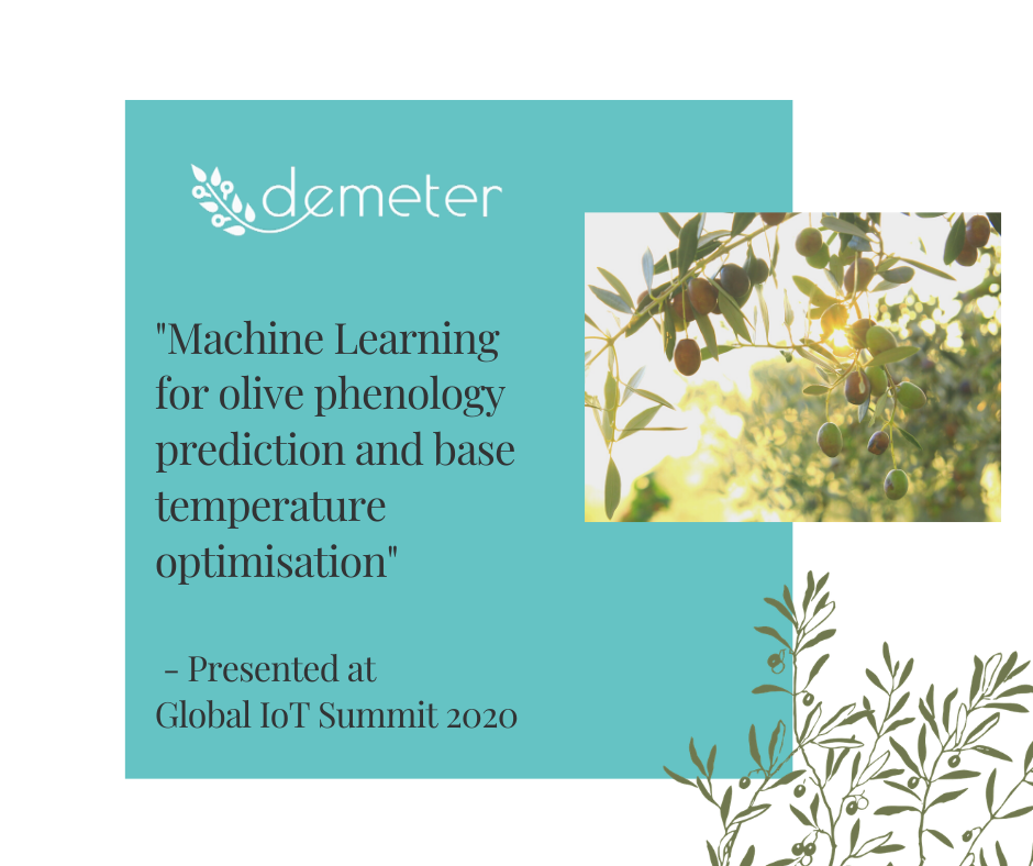 DEMETER paper on Machine Learning for olive phenology prediction presented at GIOTS.