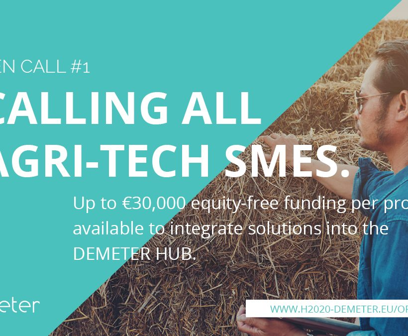 H2020 Agri-Tech project, DEMETER, announces 1st Open Call for Innovative Solutions