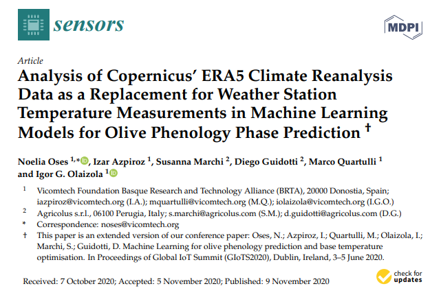 Full paper on Machine Learning Models for Olive Phenology Phase Prediction available
