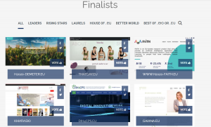 A selection of finalists in the EU web awards
